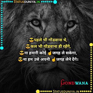 Gondwana Attitude Status Shayari In Hindi 2021, 😎पहले भी गोंडवाना थे, 😎कल भी गोंडवाना ही रहेंगे,  😎ना हमारी कोई ☝️जगह ले सकेगा,  😎ना हम उसे अपनी ☝️जगह लेने देंगे।