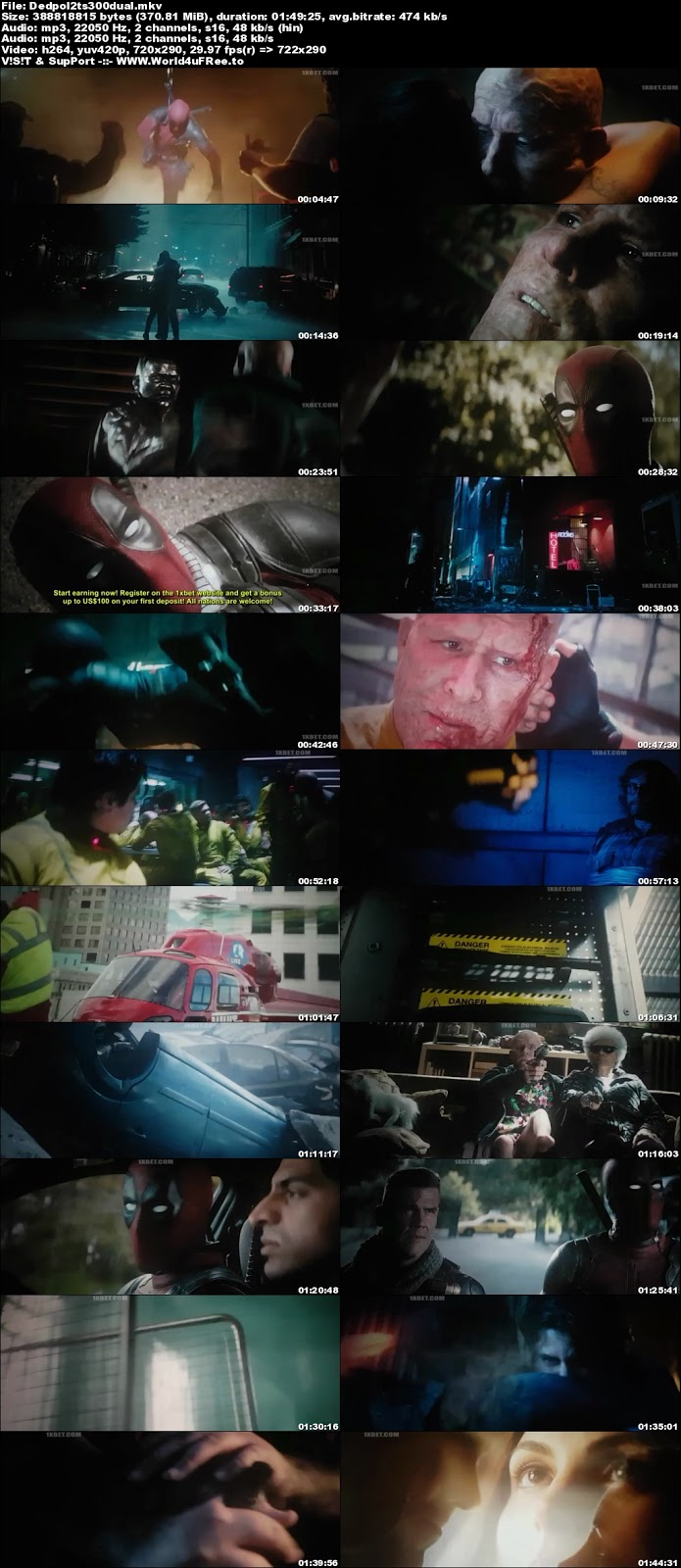Deadpool 2 2018 Dual Audio TSRip 480p 350mb world4ufree.to hollywood movie Deadpool 2 2018 hindi dubbed dual audio 480p brrip bluray compressed small size 300mb free download or watch online at world4ufree.to
