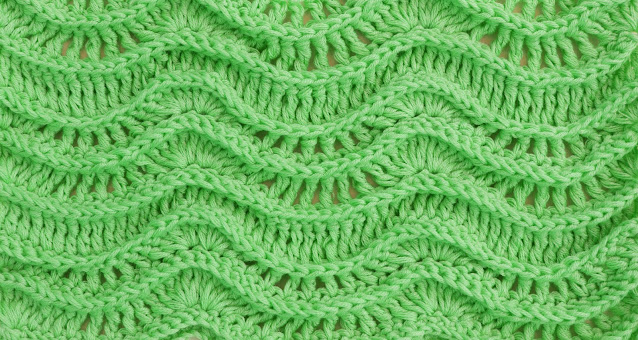 Crochet Imagen Puntada de ondas en relieve a crochet y ganchillo verde por Majovel Crochet