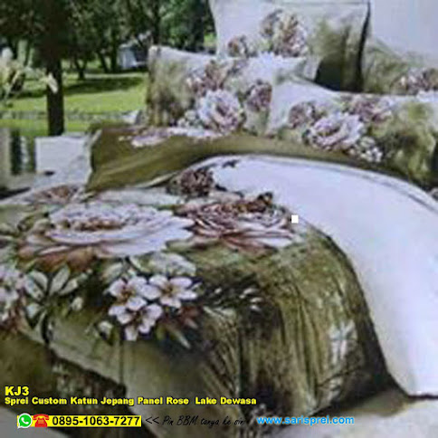Sprei Custom Katun Jepang Panel Rose Lake Dewasa