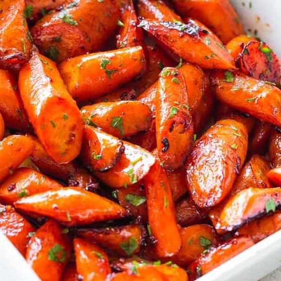 Honey Garlic Butter Roasted Carrots #Vegetarian #Vegetable