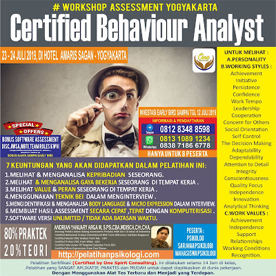 Workshop Psikologi Yogyakarta   Pelatihan Alat Tes Psikologi 2019   WA: 0838-7186-6778