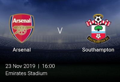 LIVE MATCH: Arsenal Vs Southampton Premier League 23/11/2019