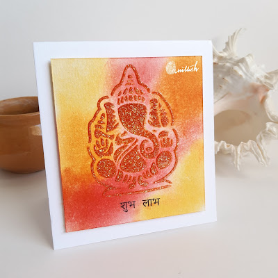 Inspired by Loll, Craftangles, distress inks, stenciling, stencil card, Quillish, Craftangles stencil small ganesha, stencil card, Faber Castell glass bead card, cards by ishani