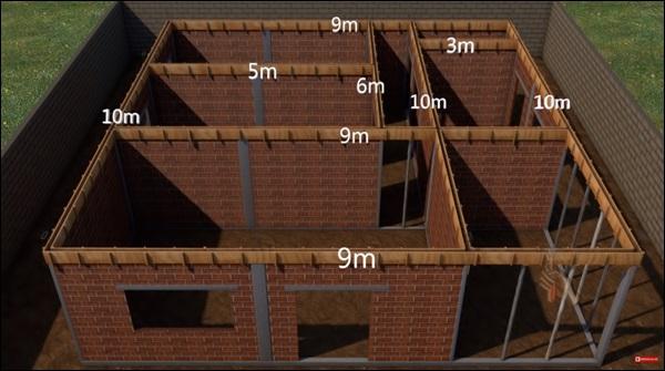 medida linear das vigas