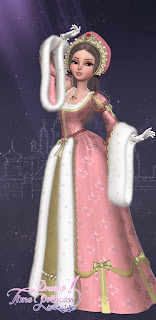 Romy in an elaborate pink gown with gold accents, fur trim, and a matching pink crown-like headdress