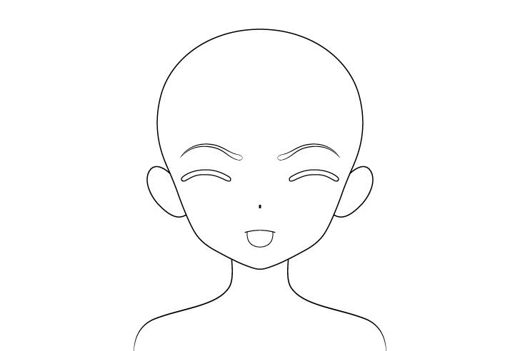Anime gadis lidah keluar menggambar garis wajah menggoda marah