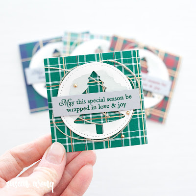 Perfectly Plaid / Wrapped in Plaid 3x3 cards with Mini Pizza Box by Stampin' Up! - Susan Wong for Fancy Friday
