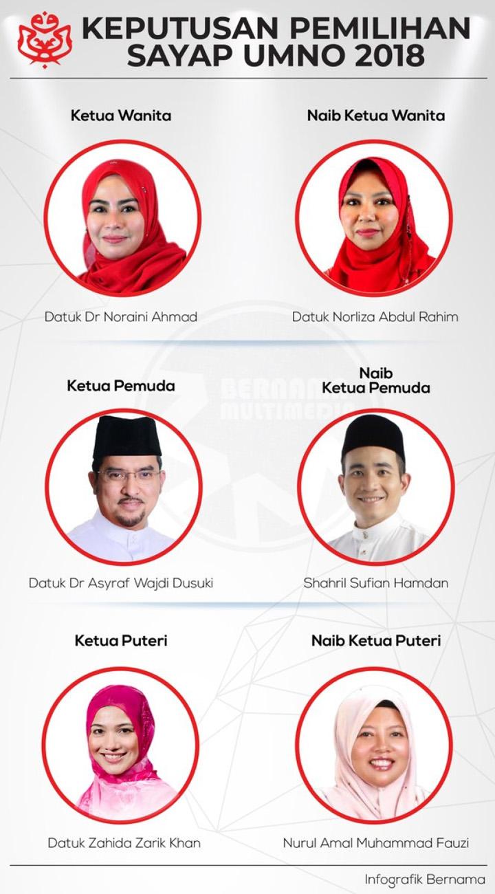 Keputusan Pemilihan Ketua Pemuda, Wanita dan Puteri UMNO 2018