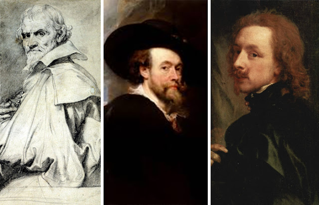 Retratos da esquerda para a direita: Orazio Gentileschi, Rubens, Anthony van Dyck