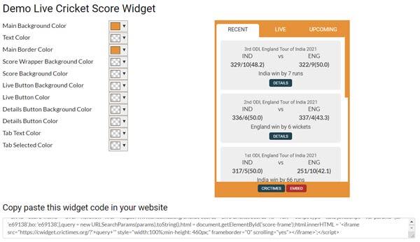 How to add Live Cricket Score Widget in blogger website?