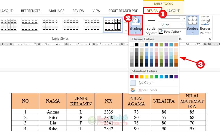 Cara mengatur warna judul kolom tabel