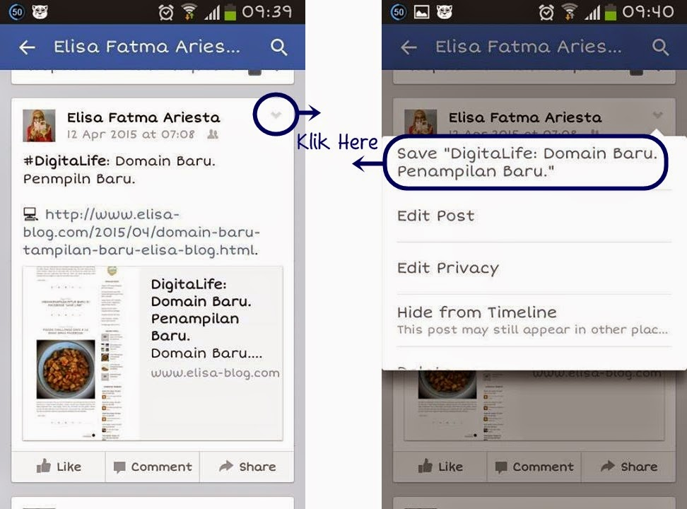 Fitur Save Link via Facebook Mobile