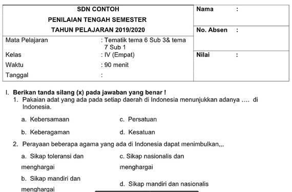 Soal PTS Kelas 4 Tema 6 Subtema 3 dan 4 dengan Kunci Jawaban