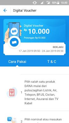 Bukti Uang Gratis Terbaru dari Aplikasi Dana Android dalam Bentuk Voucher