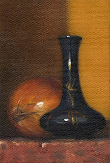 Still life oil painting of a blue garlic-head vase beside an onion.