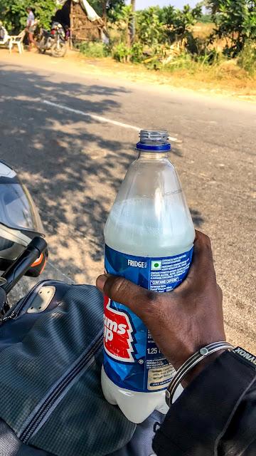 Palm kallu, in a pet bottle, Telangana