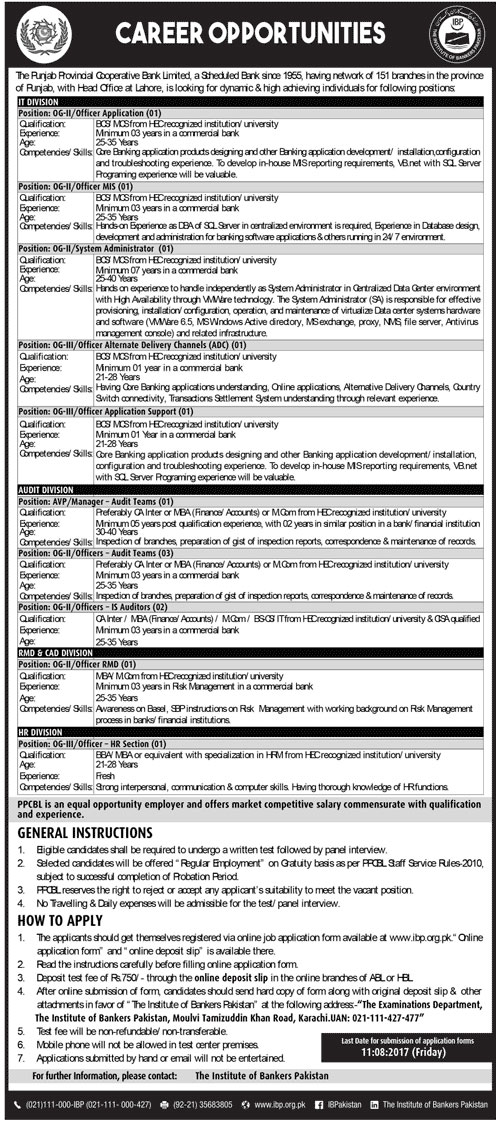 Punjab Provincial Cooperative Bank Jobs  2017