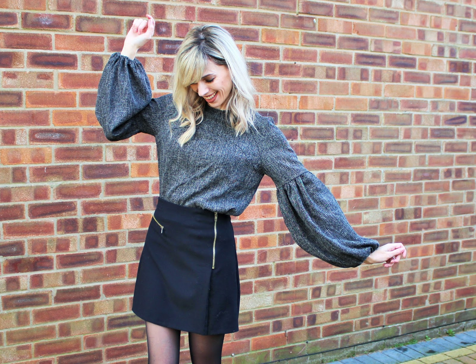 OOTD featuring Shein Balloon Sleeve Top, Topshop Mini Skirt and Zara Ankle Boots - 1