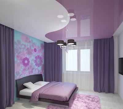 Двухцветный натяжной потолок Лабинск - белый и фиолет