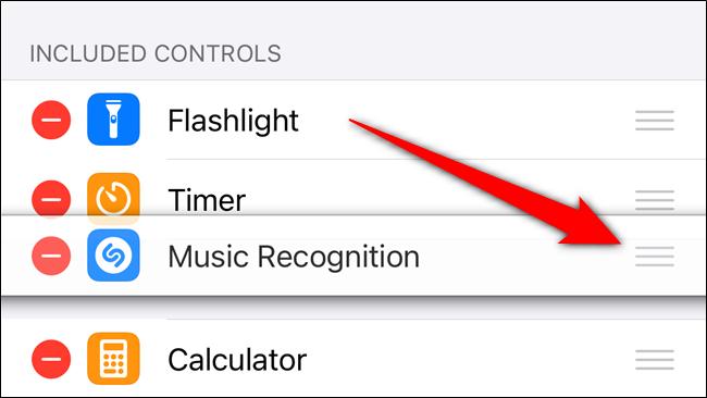 اضغط مع الاستمرار على المقبض لإعادة ترتيب موضع زر Shazam في مركز التحكم