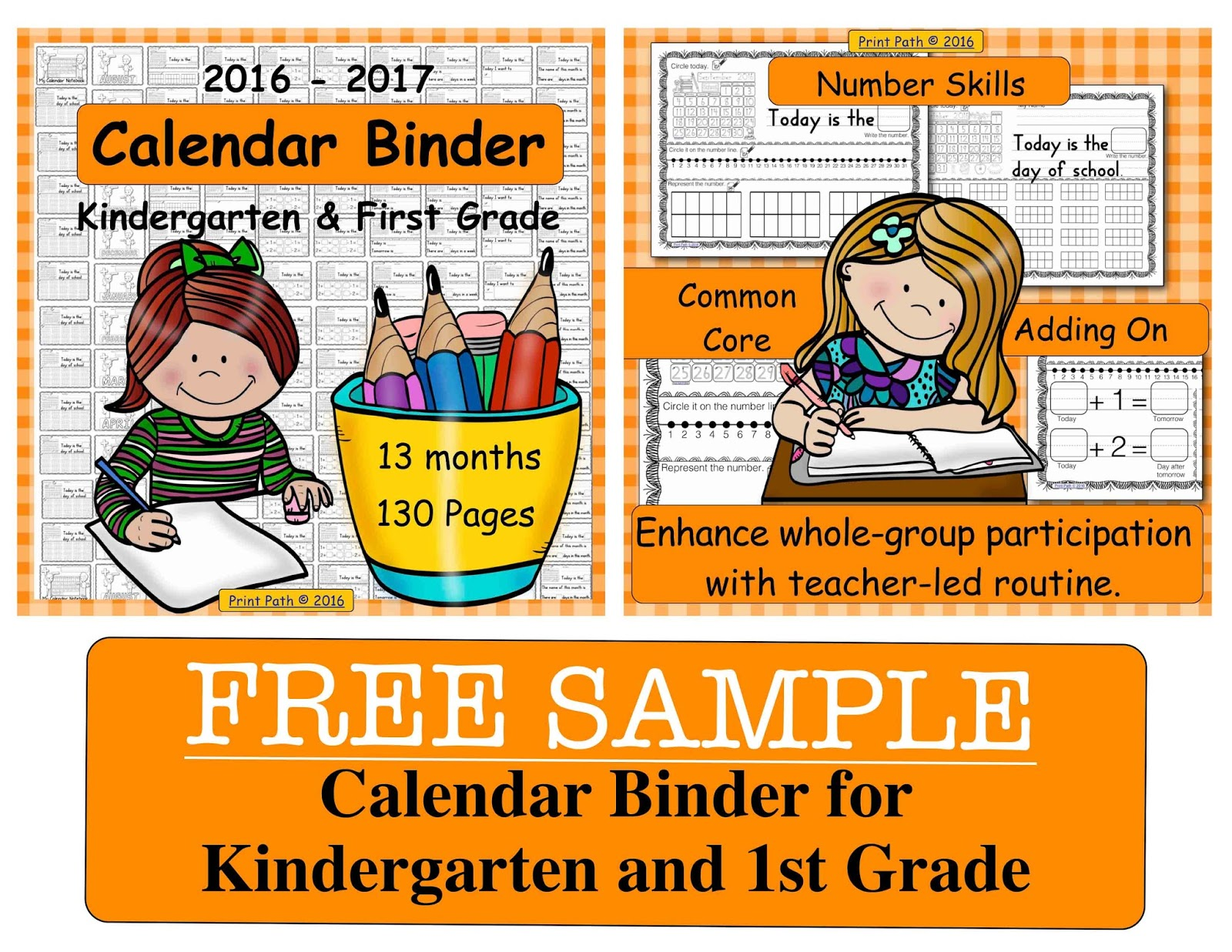 Kindergarten Calendar Binder Pages : Capitals first by print path back to school freebies and