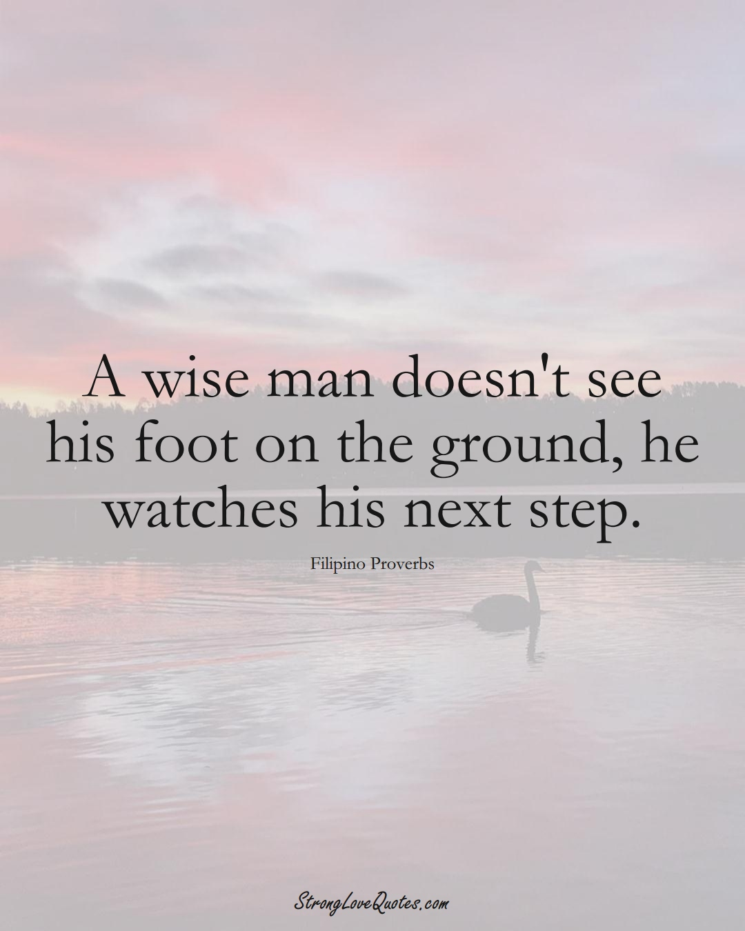 A wise man doesn't see his foot on the ground, he watches his next step. (Filipino Sayings);  #AsianSayings