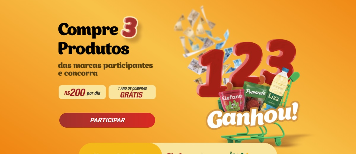 Participe Promoção 123 Ganhou Elefante, Liza e Pomarola