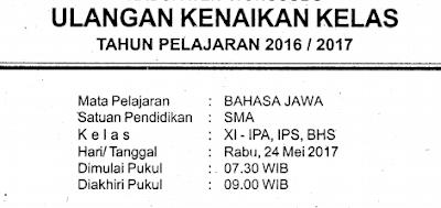 Download Contoh Soal Siap UKK/PAS/UAS Semester 2/II Kelas 11/XI SMA/MA/SMK/MAK Mapel Bahasa Jawa-Muatan Lokal (Mulok)-Wajib Kurikulum 2013/K13