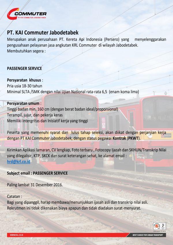 Lowongan Kerja KAI Commuter Jabodetabek Desember 2016 - Passenger Service