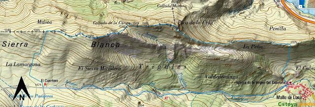 Map IGN de la ruta señalizada al Pico de la Cruz desde Mallo de Luna