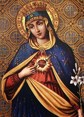Imagen de la Virgen con la Mano Señalando a Su Sagrado Corazon