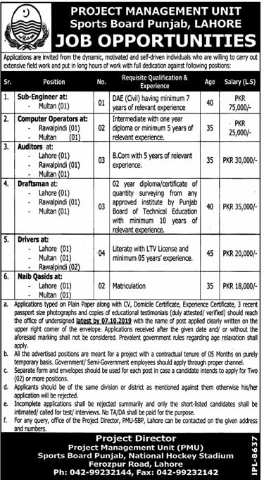 Jobs in Sports Board Punjab in Lahore