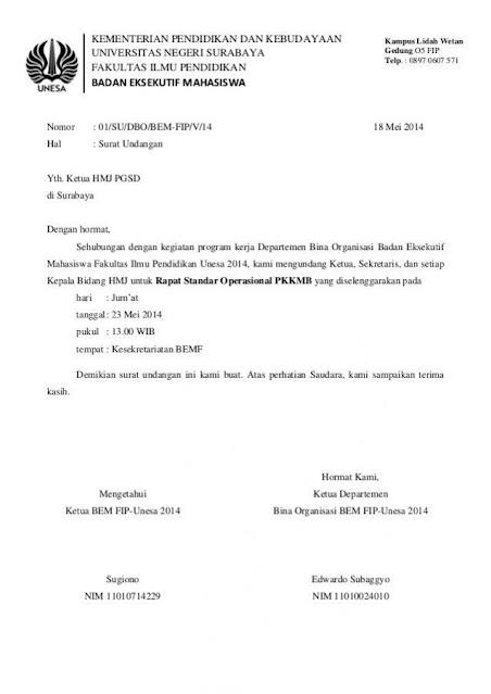 Contoh Surat Undangan Rapat (via: slideshare.net