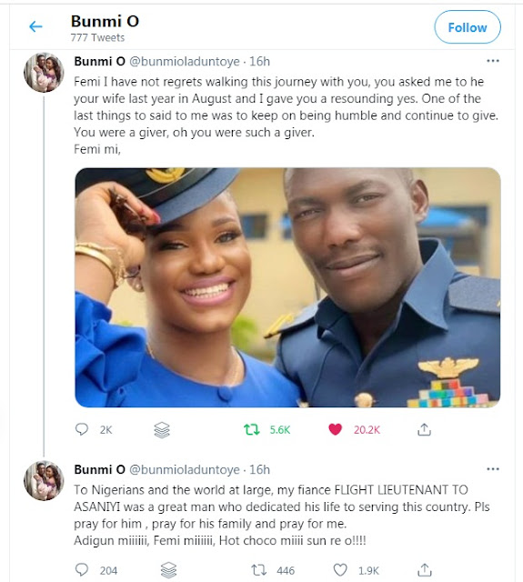 'who will call me fine girl' - Fiancée Of Late NAF Pilot Mourns In Emotional Tribute