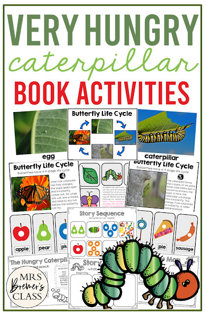 The Very Hungry Caterpillar book study and butterfly life cycle companion activities unit for grades Kindergarten and First Grade