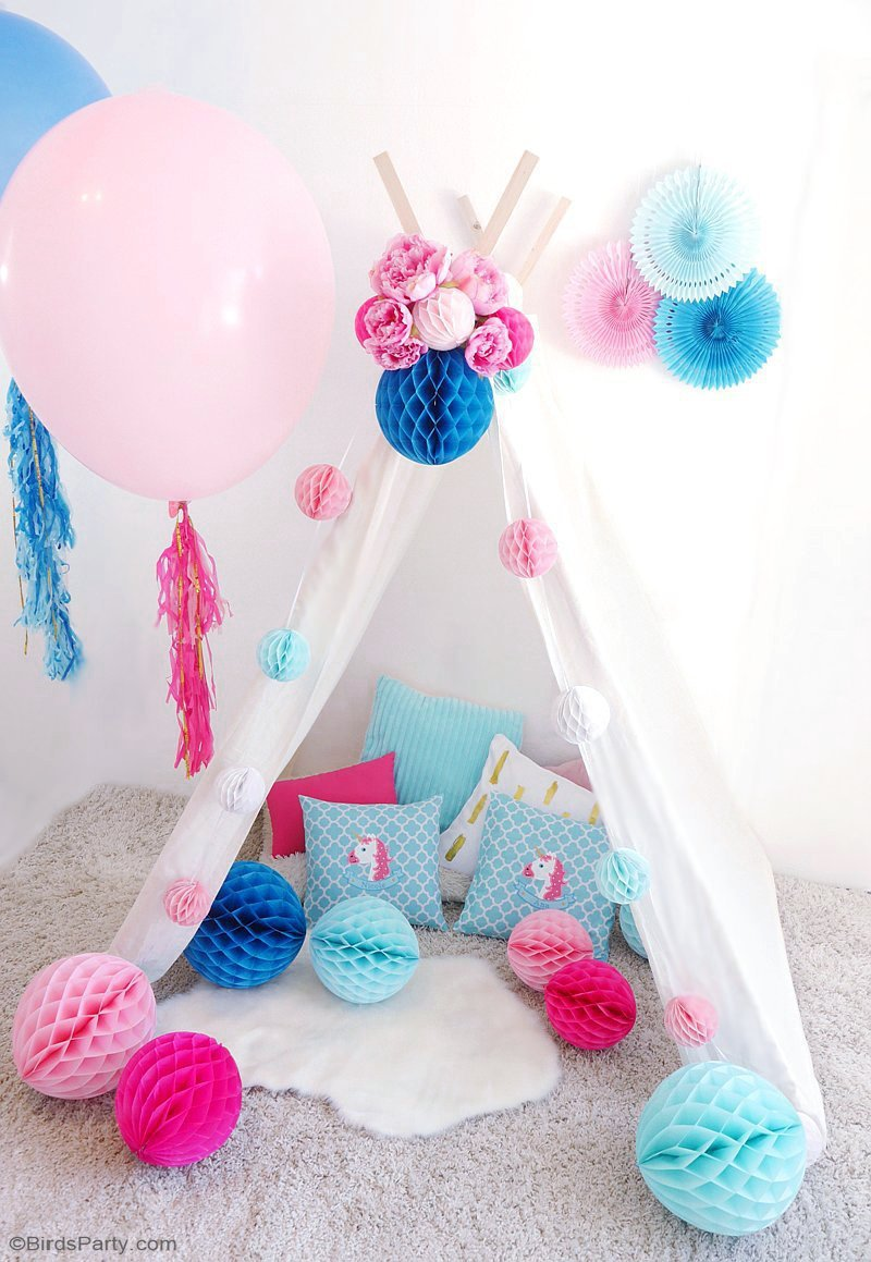 DIY Slumber Party Tee Pee - step-by-step tutorial on how to make an easy, no-sew tee pee for a birthday party or child's bedroom or playroom decor! by BirdsParty.com @BirdsParty