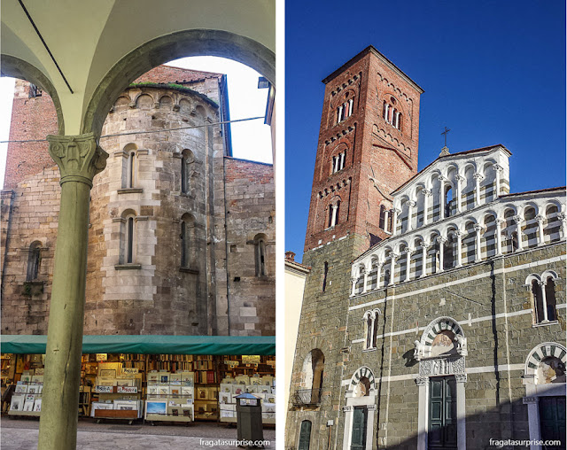 Lucca: uma feira de livros usados e a Igreja de San Pietro Somaldi, do Século 12