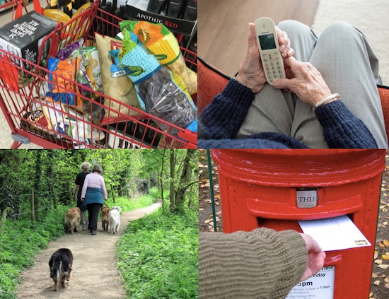 Images of groceries by The Unwinder, phone by Pikrepo, dog walking by Chris Reynolds, and postbox by Soapbeard, all released via Creative Commons.
