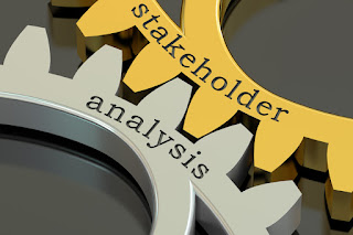 "Gears fitting together with text: ""stakeholder analysis"""