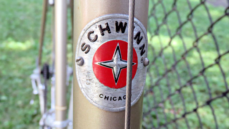 Head Badge with Schwinn and Made in Chicago written on it.
