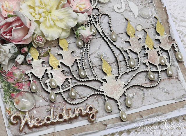 Shabby chic, mixed media wedding card by Tracey Sabella featuring ScrapBerry's Winter Joy Collection. Also using Prima Finnabair products, Wild Orchid Crafts Flowers, Lindy's Stamp Gang mists, Art Anthology Stencil, and Dusty Attic Chipboard. Details: http://bit.ly/2CRpHKw