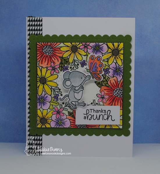 Thanks a bunch by Debbie features Garden Mice, Floral Fringe, and Frames Squared by Newton's Nook Designs; #newtonsnook
