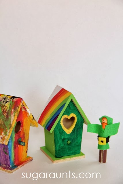 Small world pretend play with this St. Patrick's Day sensory Bin.