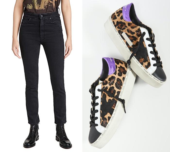 shopbop winter sale, black straight jeans, golden goose leopard sneakers
