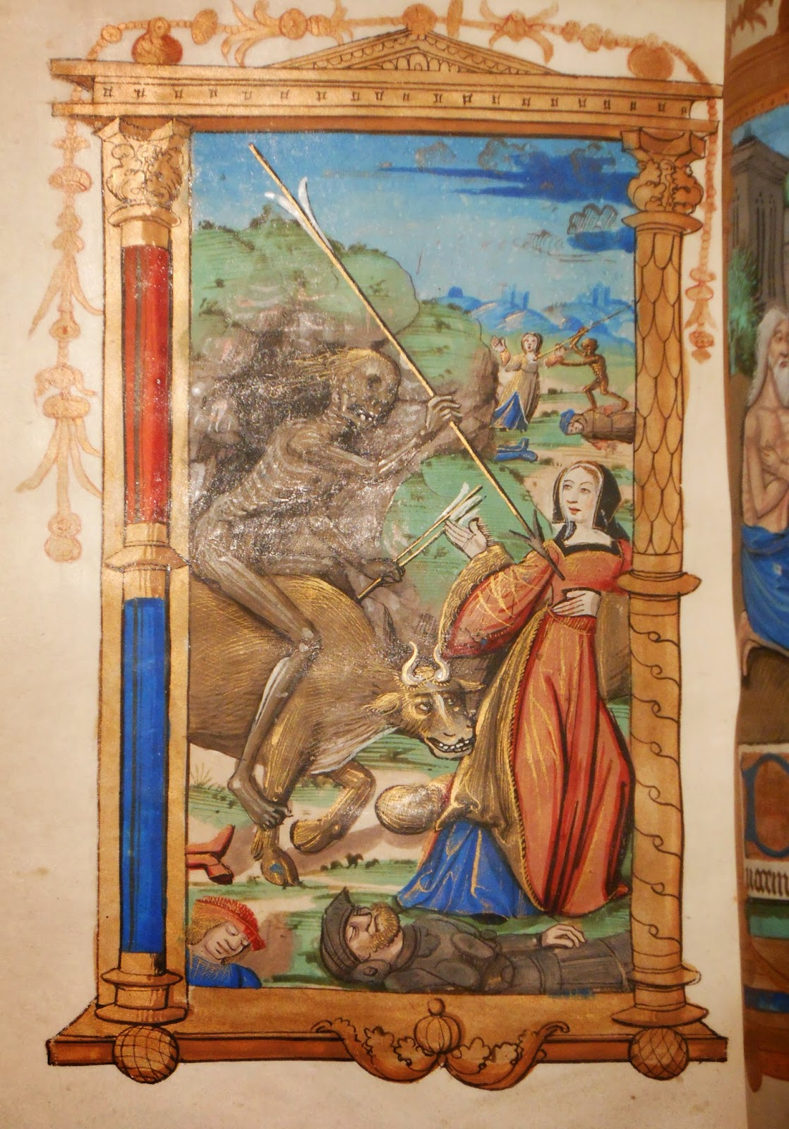 A painting from a book of hours, showing a skeleton riding a bull while hurling a giant arrow at a woman.