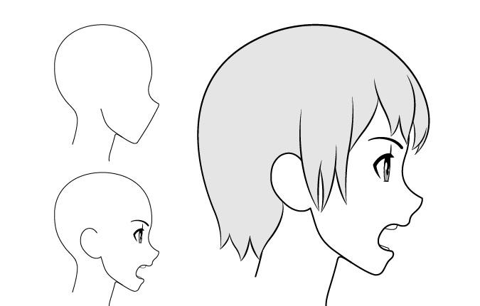 Gadis anime berteriak tampilan samping menggambar