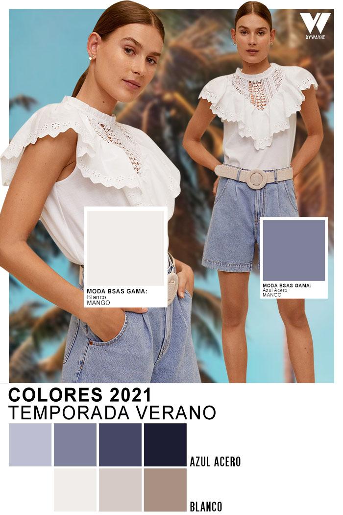 colores primavera verano 2021 Azul Acero Blanco