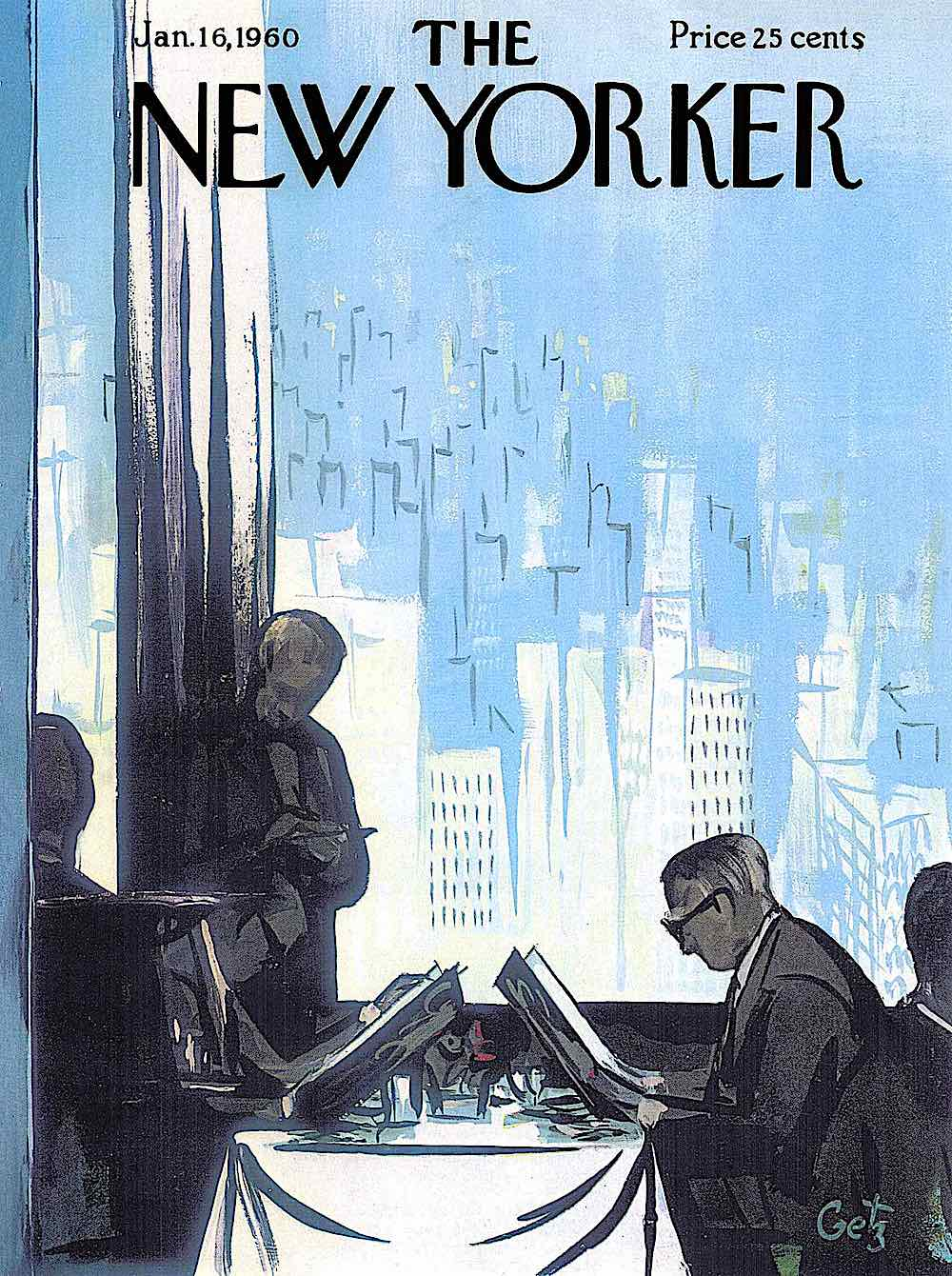 an Arthur Getz illustration for The New Yorker Magazine January 16 1960, people reading menus in a high altitude restaurant in blues