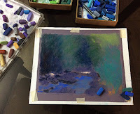 Step 3 . Soft pastel painting of a scene from Karnala Bird Sanctuary